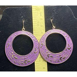 Purple Circle Hoop Textured Drop Dangle Earring